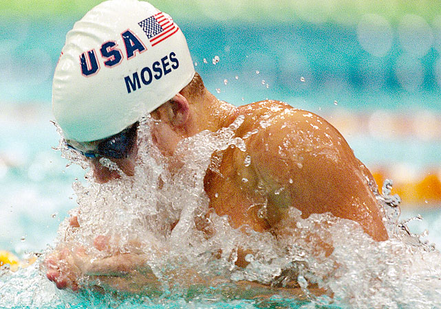 After missing the 2004 Olympic team, Moses took a   winding road in retirement   from swimming, from Virginia to Florida to California, playing golf with Arnold Palmer and going on TV in between. Moses had capitalized on his talent as a young breaststroker at the 2000 Olympics, taking silver in the 100 breast and gold in the medley relay. He was only 20. Coming back at 31, Moses sees that breaststroke is probably the thinnest stroke on the U.S. men's side. His times from a decade ago could make the 2012 Olympic team, but he hasn't gotten back to that form yet.