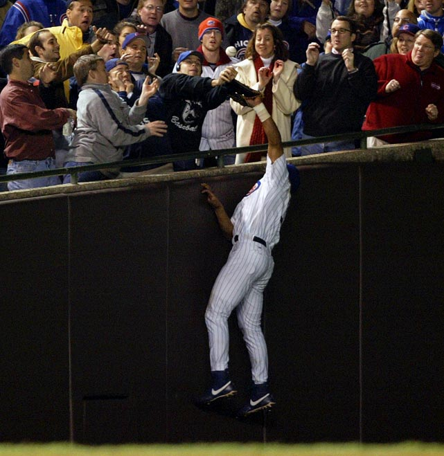 Ten years ago tonight (Oct. 14), the Chicago Cubs were five outs away from their first World Series appearance since 1945 and held a 3-0 lead over the Florida Marlins in the top of the eighth inning in Game 6 of the 2003 National League Championship Series at Wrigley Field. The Cubs suffered a stroke of bad luck when fan Steve Bartman grabbed a foul ball off the bat of Luis Castillo before Moises Alou could catch it. Castillo drew a walk, and the Florida Marlins scored eight runs in the inning and went on to win Game 6 and later the series. Ten years later, the Cubs haven't won a postseason game since and remain without a World Series title since 1908. Here are some other painful moments in sports.