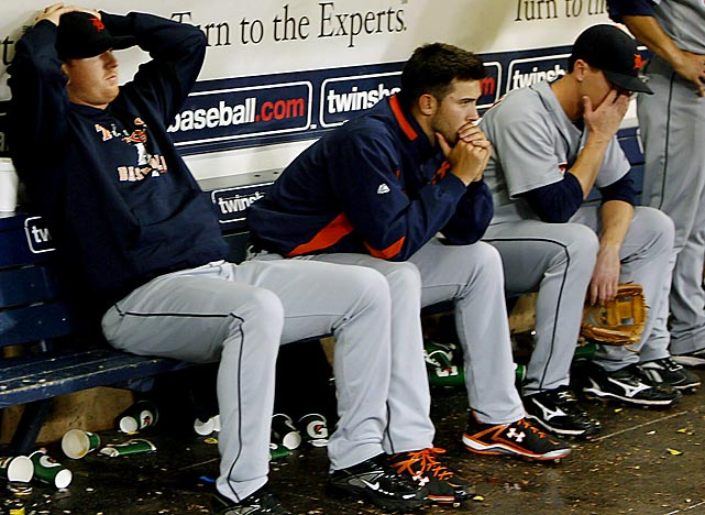 Trying to win their first division title since 1987, the Tigers owned a seven-game division lead over Minnesota on Sept. 6. But the pennant eluded Detroit, thanks to an 11-16 finish to the season, culminating in a heartbreaking, 12-inning loss to Minnesota in a one-game tiebreaker. The Tigers became the first team since 1901 to miss the playoffs after holding a three-game lead with just four to play. The Twins went 17-4 down the stretch to claim the division title and an ALDS date with the Yankees.