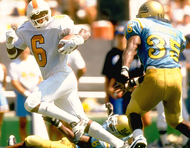 Copeland came to Tennessee a Swiss Army knife, able to play QB, RB, WR, LB and DB. He eventually settled in as one of Martin's top receiving options, catching 104 passes, but due to other transfers was needed in his freshman and sophomore years as Manning's backup.    Career Tennessee stats (as Manning's backup): 15 for 22, 134 yards.   Other quarterback in the Copeland era: Shawn Snyder.