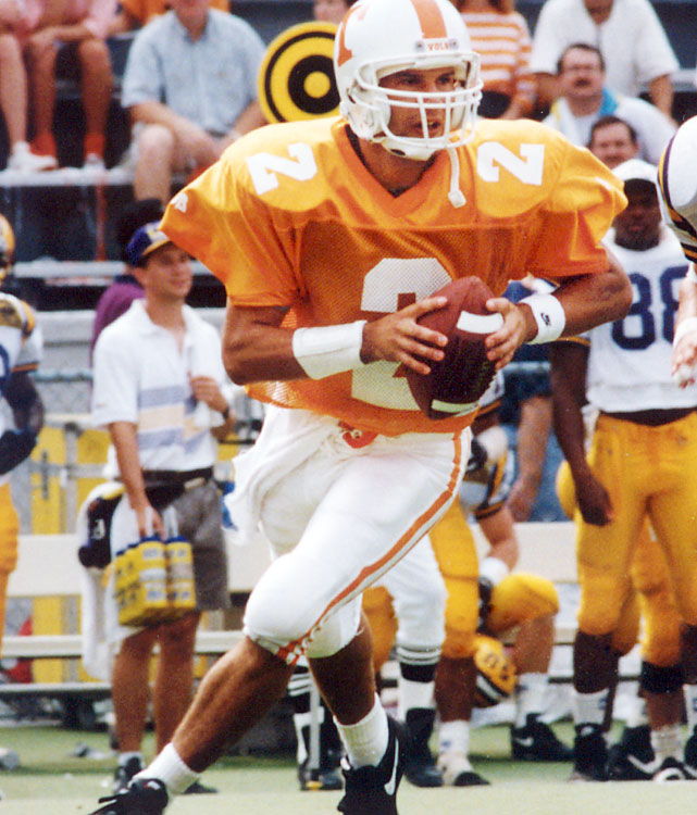 Helton just about gave up football for baseball after his injury, but he can still technically be called a Manning backup. In Tennessee's regular-season finale against Vanderbilt, he came in for Manning and took one snap -- a handoff to Jay Graham -- and called it a football career. Tennessee won 65-0.   Career Tennessee stats (as Manning's backup): 1 snap.