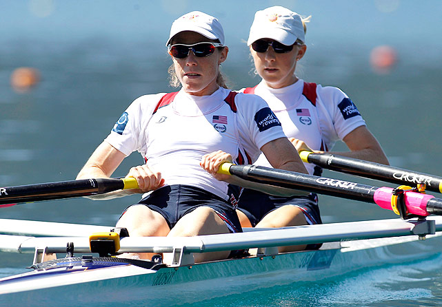 Kristin Hedstrom (front) and Julie Nichols race in the heats of the women's lightweight double sculls.