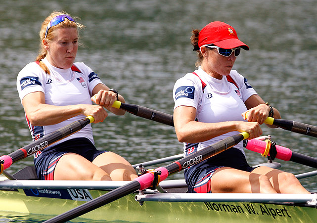 Sarah Trowbridge (left) and Kathleen Bertko compete in the women's double sculls repechage event.