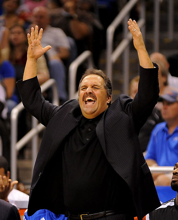 Stan Van Gundy has coached in the NBA for eight seasons, with the Miami Heat (2003-06) and the Orlando Magic (2007-12, before being fired in May 2012). He made the playoffs seven times and boasts a career winning percentage of .641 -- a fine coach by any standard.  But if there's one thing SVG has become known for in the league it's his pained facial expressions on the sidelines. With nearly every play and every call, Van Gundy has some unique (and hilarious) way of reacting. The good news: Many of the classic Van Gundy moments have been captured on camera. Enjoy!
