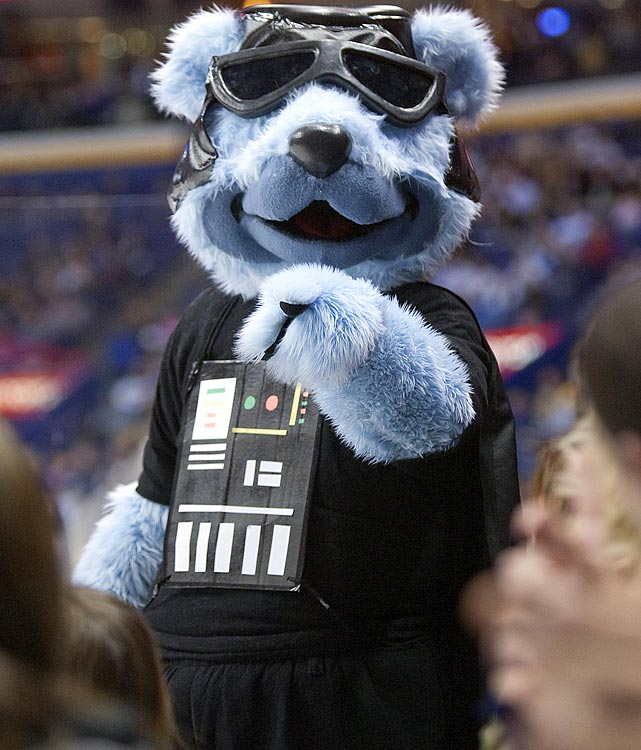 Louie, the Blues mascot, dressed the part of Darth Vader for Star Wars Night during a game against the Avalanche on Dec. 7, 2009 in St. Louis.