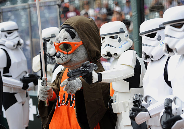 Giants mascot Lou Seal and stormtroopers pose before the game against the Diamondbacks, as a part of Star Wars Day at AT&T Park on Sept. 4, 2011 in San Francisco.