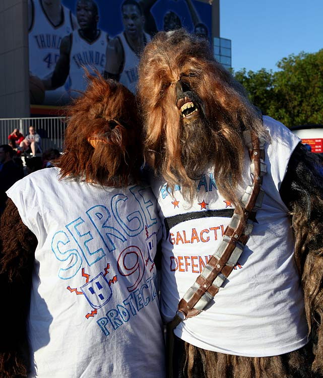 Fans of Thunder forward Serge Ibaka dress as Wookies for Game 2 of the second round of the NBA playoffs between the Thunder and the Grizzlies on May 3, 2011 in Oklahoma City.