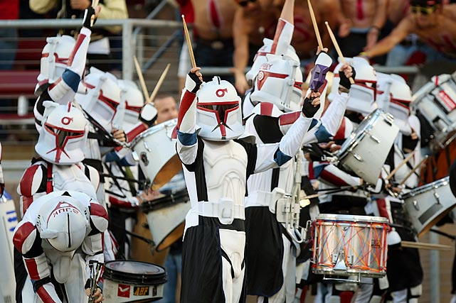 The Stanford marching band drummers dressed as clone troopers before a game against Cal at Stanford Stadium on Nov. 21, 2009.