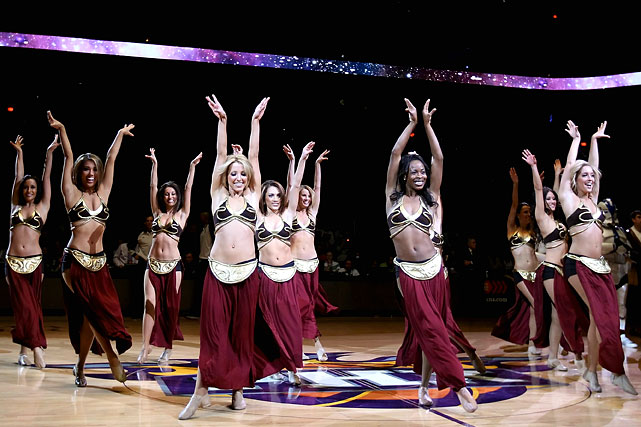 The Suns dancers perform in Princess Leia themed outfits before a game against the Kings on Feb. 13, 2011 in Phoenix.