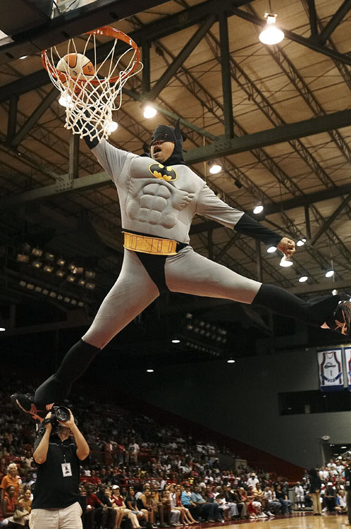 This would've been better if he had dunked over the Batmobile, with Alfred Pennyworth lobbing him the ball through the sunroof.