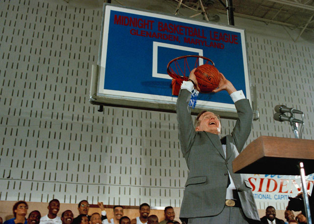 Yep, that's George H.W. Bush, taking one to the hoop.