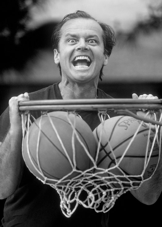 Here's a 42-year-old Jack Nicholson, looking awkward and somewhat freaky while dunking two basketballs.