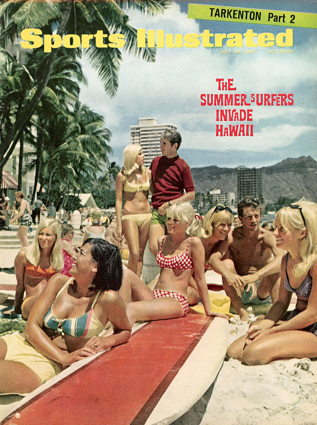"""In the July 24, 1967 issue, Dan Jenkins  wrote about  the """"20,000 coeds, hippies, beachies, blasters, bleachies and just plain beach bums strewn all along Waikiki Beach having a delicious summit meeting of copper-toned tummies."""""""