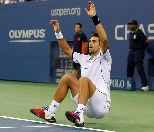The Serb is the sixth player in the Open era to win three Grand Slam tournaments in the same year.