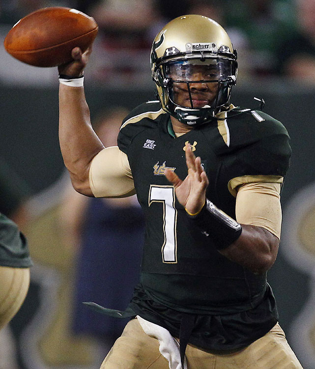 B.J. Daniels threw for 202 yards and ran for 130 more, helping USF remain unbeaten with a victory over UTEP. Daniels scored on a 71-yard run on the Bulls' second offensive play and threw touchdown passes of 54 and 18 yards to Lindsey Lamar in the second half. The Bulls have a short week of preparation for Thursday night's Big East opener at Pittsburgh.