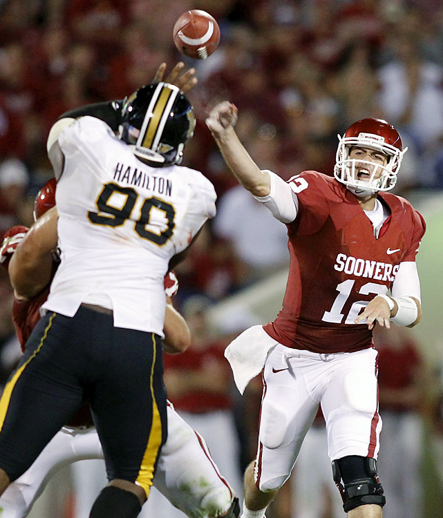 Landry Jones threw for 448 yards and three touchdowns to Ryan Broyles, as Oklahoma bounced back from a rare home deficit. With two starting receivers out of the lineup, Broyles had to play up to his usual All-American standard without proven sidekicks. Kenny Stills, who caught the go-ahead touchdown in a win at then-No. 5 Florida State last week, was out with a head injury. The Sooners entertain Ball State next week.