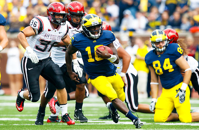 Denard Robinson's Heisman campaign got a boost against SDSU, as Shoelace (pictured) rushed for 200 yards and three scores. But the real story in this one was Michigan's usually suspect defense, which forced three fumbles and held the normally prolific San Diego State offense to one score.