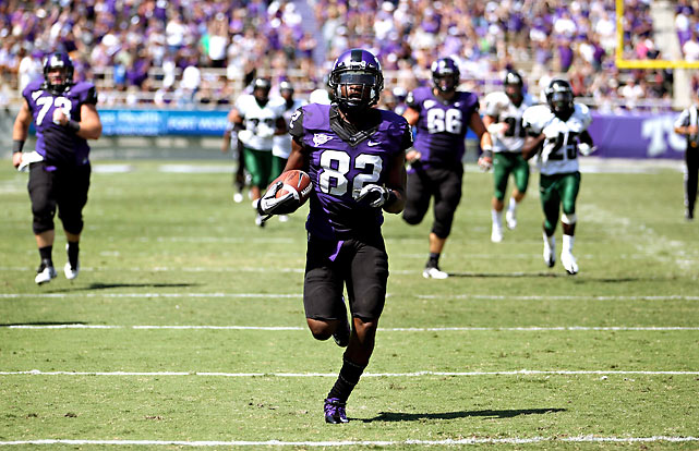 TCU suffered a crushing blow Saturday when it found out star linebacker Tanner Brock had been lost for the season to an ankle injury. It took that heartache out on an already overmatched Portland State team. Josh Boyce (pictured) broke away for a  66-yard score with 1:55 left in the first half, and the Horned Frogs never looked back.