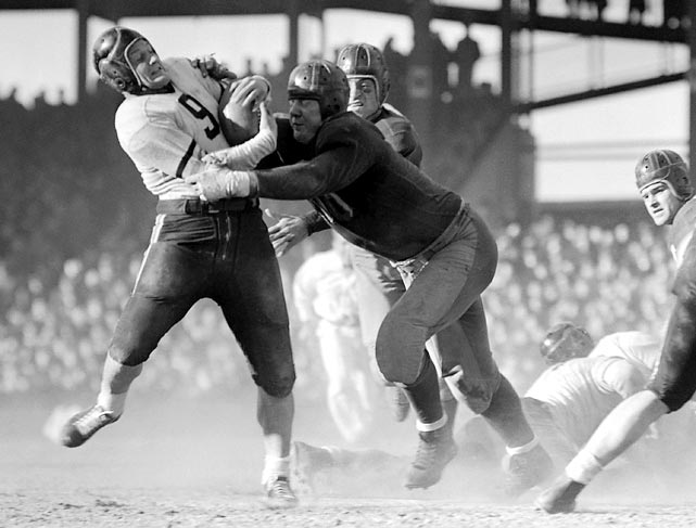 Referees asked Bears' coach George Halas to run or pass for the PAT on the team's last two touchdowns because too many balls had been kicked into the stands.