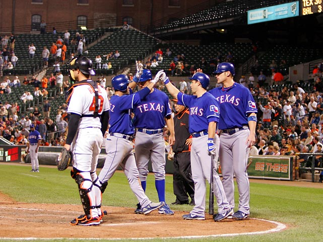 Thirty runs is the record for most by a single team in an American League game. Ramon Vazquez and Jarrod Saltalamacchia each had  seven RBI for the Rangers.