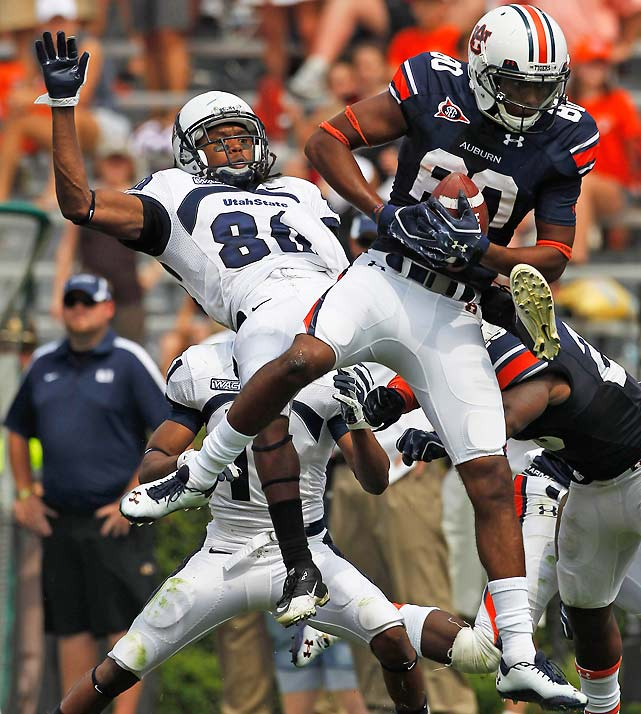 A defending national champion had not lost its season opener since Miami in 1990. With the clock winding down in the forth quarter, it looked like Auburn was going to change that. But first-time starter Barrett Trotter found Philip Lutzenkirchen for a 15-yard score with 2:07 left, and then receiver Emory Blake recovered a beautiful onside kick (pictured) to set up Mike Dyer's game-winning score with 30 seconds remaining. Maybe some of that Cam Newton magic still resides on the Plains.