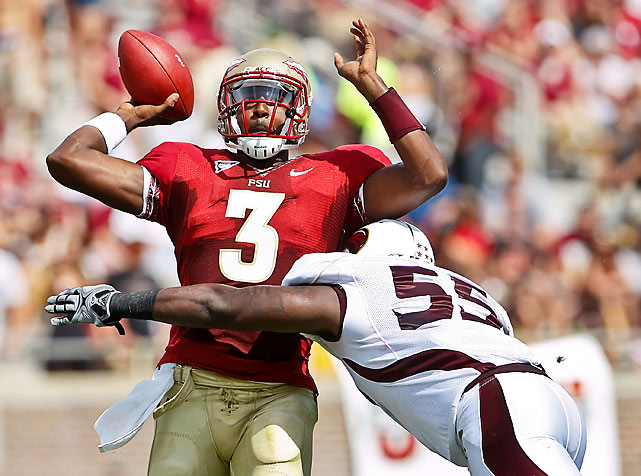 The E.J. Manuel era began without a hitch. Manuel (pictured) passed for 252 yards and two scores in the Seminoles' opener, and Florida State's swarming defense held ULM to 191 yards. The Warhawks reached FSU territory just once in the first half and never got beyond the FSU 28-yard-line.