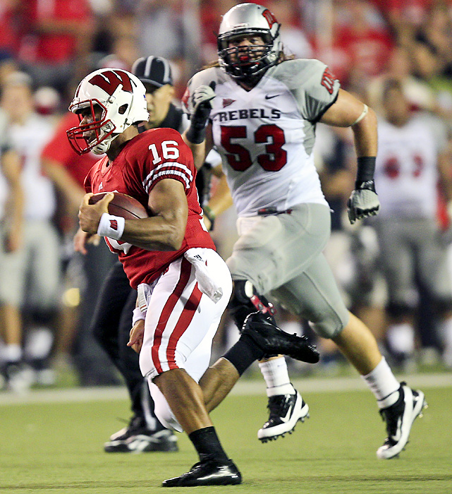 The Russell Wilson era got off to a great start as the Badgers cruised on Thursday. Wilson, who transferred from North Carolina State, completed 10-of-13 passes for 255 yards and two scores and rushed for 62 yards, including a 46-yard TD. But Wilson wasn't the only bright spot: Tailback Montee Ball scored four touchdowns for the Badgers, who host Oregon State on Sept. 10.