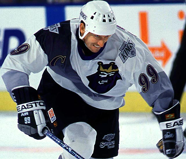 "Even Wayne Gretzky couldn't look good in the Kings' short lived ""Burger King"" third jersey from the 1995-96 season."