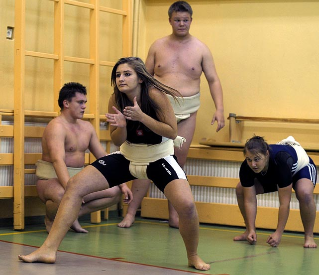 These amateurs are training to be the next generation of sumo wrestlers.