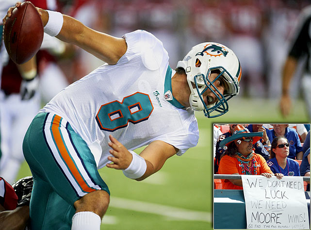 QBs signed through 2012: Matt Moore  The Dolphins were rumored to be a trade partner for the Broncos' Kyle Orton before the season. They instead turned to Moore to back up free-agent-to-be Chad Henne. Henne's out for the season after shoulder surgery and may have played his last snap as a Dolphin. Moore is by no means a franchise quarterback, leaving Miami as a likely suitor for a new signal caller come next year.