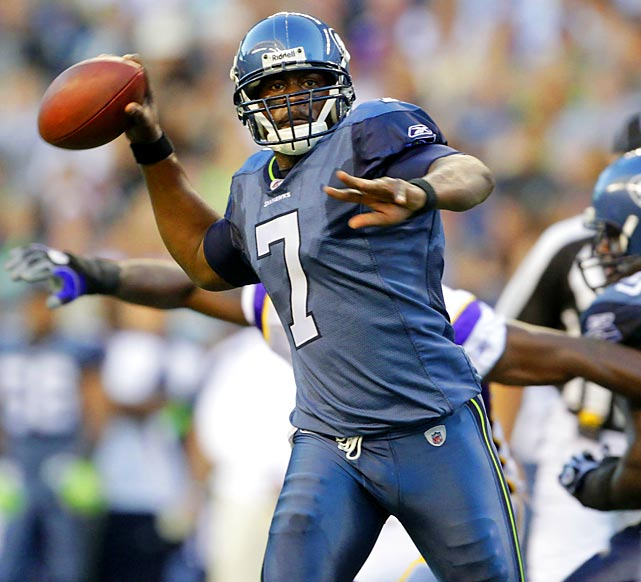 QBs signed through 2012: Tavaris Jackson  Tavaris Jackson and Charlie Whitehurst have both seen action for the Seahawks. Neither has had much success in Pete Carroll's offense and while some expected Seattle to take a quarterback in the 2011 draft, the Seahawks may have been waiting a year to select their quarterback of the future.