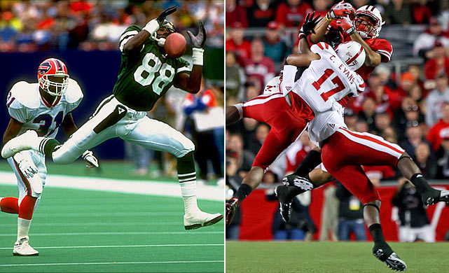 Al Toon (left) played eight seasons as a wide receiver in the NFL with the New York Jets, but was forced to retire after suffering at least nine concussions. Toon's son Nick is a wideout at Wisconsin.