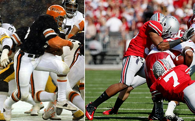 Former Ohio State running back Archie Griffin is the only player to win the Heisman Trophy twice (1974,  '75).  The former Cincinnati Bengals' son Adam now plays defensive back for the Buckeyes.