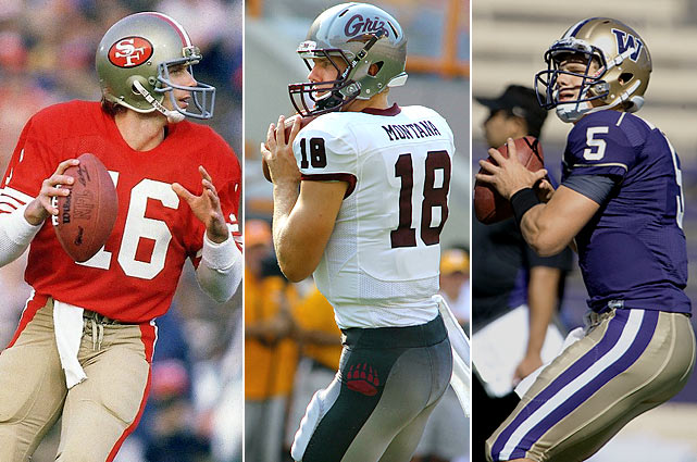 Joe Montana was one of the greatest quarterbacks in the NFL. No surprise then that sons Nate (center) and Nick (right) are college quarterbacks, at Montana and Washington, respectively.