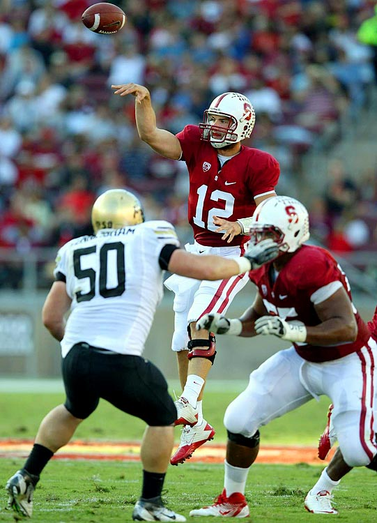 Last week:  26-of-33 passing for 370 yards, three TDs and one INT; one rush for two yards in 48-7 win over Colorado.   Season (five games):  80-of-112 passing for 1,013 yards, 11 TDs and one INT; 11 rushes for 58 yards and one TD; one reception for 13 yards.  John Elway was on present. But the main attraction at Palo Alto was again Luck, who threw for the second-most yardage of his career. His most impressive moment came on third-and-26, when he rolled to his left and threw across his body for a 27-yard gain to keep the scoring drive alive. He may not lead the nation in passing yards or TDs, but arguably no single player is more important to his team's success than Luck, who pushed the Cardinal to their 13th straight win, equaling a school record set between 1939-41.   Next up:  Saturday at Washington State