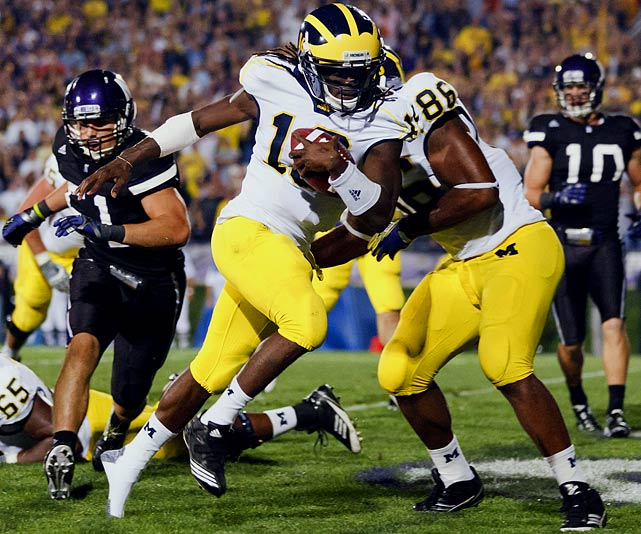 Last week:  17-of-26 passing for 337 yards, two TDs and three INTs; 25 rushes for 117 yards and two TDs in 42-24 win over Northwestern.   Season (six games):  50-of-91 passing for 793 yards, eight TDs and six INTs; 77 rushes for 603 yards and six TDs.  If ever they erect a roller coaster in Ann Arbor, they should just call it Shoelace. After throwing three first-half interceptions, Robinson passed for two TDs and ran for two more as the Wolverines rallied to stay perfect. He finished one yard behind the career-high 338 passing yards he had in Week 2 and went over 350 yards of offense for the eighth time in the past two seasons. Things figure to get a little more difficult this week as Michigan faces its first ranked opponent in No. 23 Michigan State, whose defense leads the nation, allowing a mere 173.4 yards per game.   Next up:  Saturday at No. 23 Michigan State