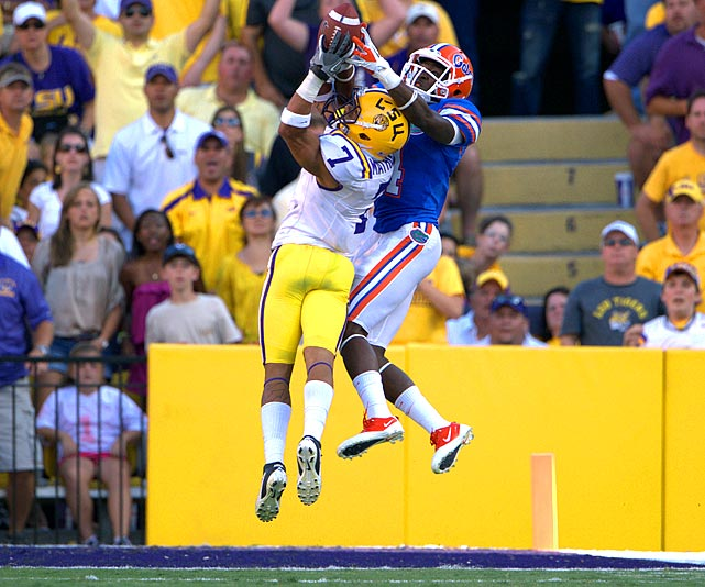 Last week:  Six tackles, one for loss and one interception; two punt returns for 12 yards in 41-11 win over No. 17 Florida   Season (five games):  41 tackles, five tackles for loss, 1½ sacks, four forced fumbles, two returned for TDs, two interceptions; 13 punt returns for 97 yards  The word is officially out on the Honey Badger. ESPN profiled the LSU star, which included Les Miles comparing Mathieu to the fearsome member of weasel family, and you can buy your own  'Honey Badger Takes What He Wants!' T-shirt . Mathieu didn't disappoint in the rout of Florida as the 5-foot-9 corner, who was covering 6-foot-3 tight end Jordan Reed, went up and pulled down his second interception of the season. Charles Woodson created seven turnovers in his Heisman-winning season; Mathieu already has six through five games.   Next up:  Saturday at Tennessee