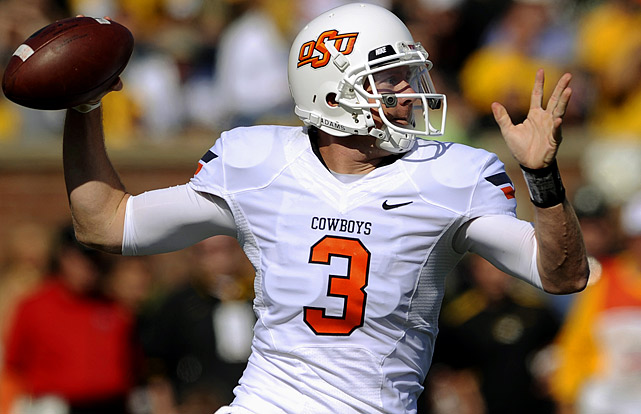 Last week:  33-of-49 passing for 338 yards, three TDs and one INT in 45-24 win over Missouri.   Season (seven games):  222-of-309 passing for 2,436 yards, 19 TDs and seven INTs.  Weeden wasted little time in making up for last week, when he had the lowest production of his Cowboys career. The senior passed 19-of-25 for 216 yards and two touchdowns -- in the first quarter against Missouri, and that number could have been higher as Oklahoma State receivers totaled six drops. He was basically a non-factor in the second half, totaling 59 yards and an interception, as running back Joseph Randle took over with receivers Justin Blackmon and Hubert Anyiam injured, but still remains third nationally with an average of 31.7 completions per game.   Next up:  Saturday vs. Baylor