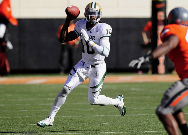 Last week:  33-of-50 passing for 425 yards, one TD and two INTs; 16 rushes for 27 yards and one TD in 59-24 loss to No. 3 Oklahoma State.   Season (seven games):  175-of-232 passing for 2,375 yards, 23 TDs and four INTs; 88 rushes for 322 yards and three TDs; one reception for 15 yards.  RGIII's 425 passing yards were just five shy of the career high he had set the previous week, and he broke his own Baylor mark with 452 total yards of offense. Despite another big statistical day, Griffin couldn't put the Bears on the scoreboard on five straight drives deep into Cowboys' territory in the first half, and Baylor didn't find the end zone until the first play of the fourth quarter. It was Griffin and Co.'s third loss in four games and they still have three ranked opponents remaining on the schedule in Oklahoma, Texas Tech and Texas.   Next up:  Saturday vs. Missouri
