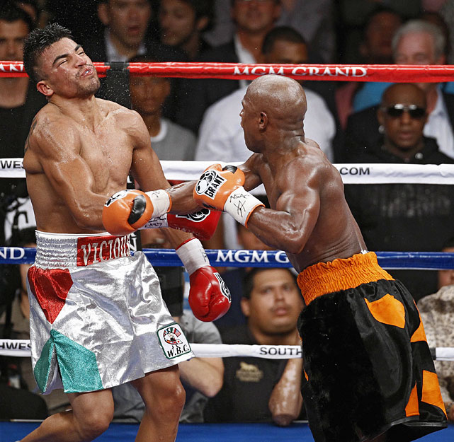 When Ortiz tried to intentionally head-butt Mayweather late in the fourth round of their welterweight title fight, referee Joe Cortez immediately called time to deduct a point. After the fighters touched gloves several times and moved to the center of the ring, Ortiz looked toward Cortez for a signal to restart. That's when Mayweather stepped back and uncoiled a vicious left-right combination that ended the fight. Unsportsmanlike? Perhaps. Legal? Without a doubt.