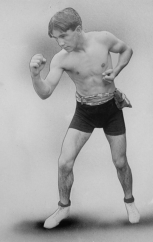When Wolgast (pictured) defended his lightweight title against Rivers in Los Angeles, the bout was ended when the fighters connected with simultaneous blows and knocked each other out. Referee Jack Welch later awarded the victory to Wolgast, claiming he'd started to rise before the completion of the 10-count.