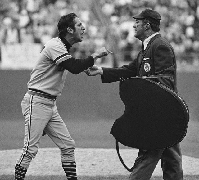 Billy Martin argues with umpire Nestor Chylak during a 1972 playoff game against eventual ALCS champion Oakland.