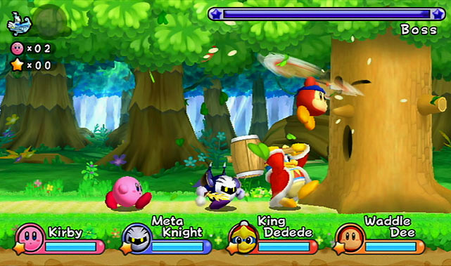 Nintendo's loveable floating pink ball of cuteness is back on the Wii for this kid-friendly adventure.  Return to Dream Land is a classic side-scrolling platform game that allows up to four players to play on the screen at the same time (players can jump in and out of the game at any time). Experienced gamers will find it mostly easy, but it's still a very entertaining game to play alone or with others.  The plot of the game is basically Kirby fighting through levels to return missing parts of an alien's spaceship. Each level also has hidden gears to retrieve (like stars in Mario games), and as you acquire the gears you'll unlock some cool minigames. Throughout each level are opportunities to power up Kirby, which helps diversify the action  Score: 8 out of 10