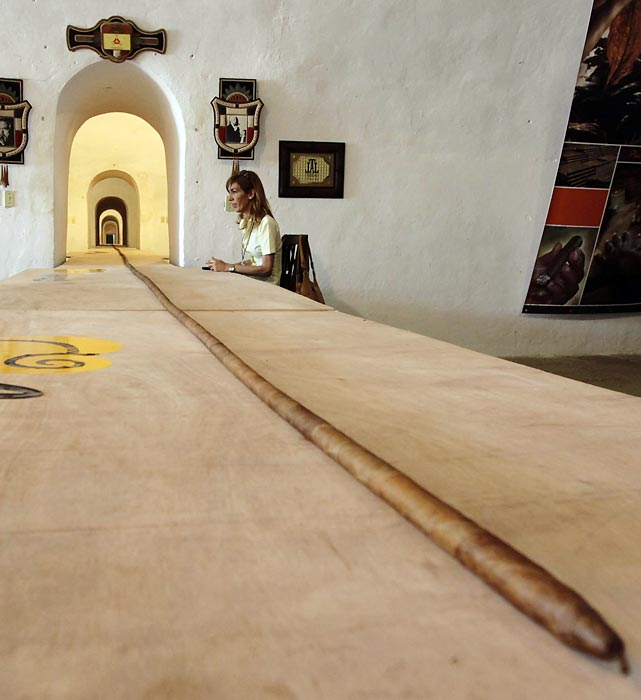 This 268-foot, 4-inch cigar in Havana is nearly the length of a football field. It was rolled by Jose Castelar Cairo, who also rolled a 148-foot, 9-inch cigar to set the old record.