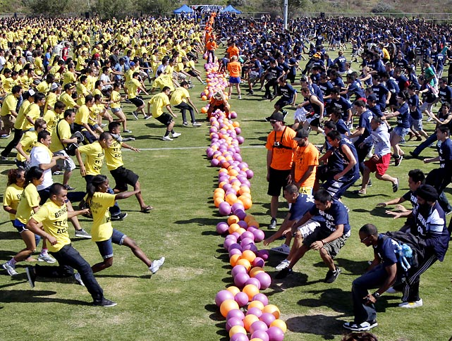 At the UC Irvine campus, 1,745 students participated in the largest dodgeball game ever.