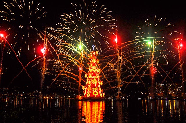 Rio de Janeiro's Christmas Tree is inaugurated at the Rodrigo Freitas Lagoon in Brazil. According to the Guinness Book of World Records, this is the biggest Christmas tree in the world. It measures over 85 meters and is lit by 3.3 million multi-colored bulbs.