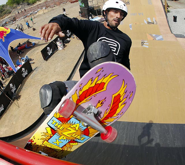 U.S. skateboarder Brian Pina practices for the first Maloof Money Cup world championships in South Africa.