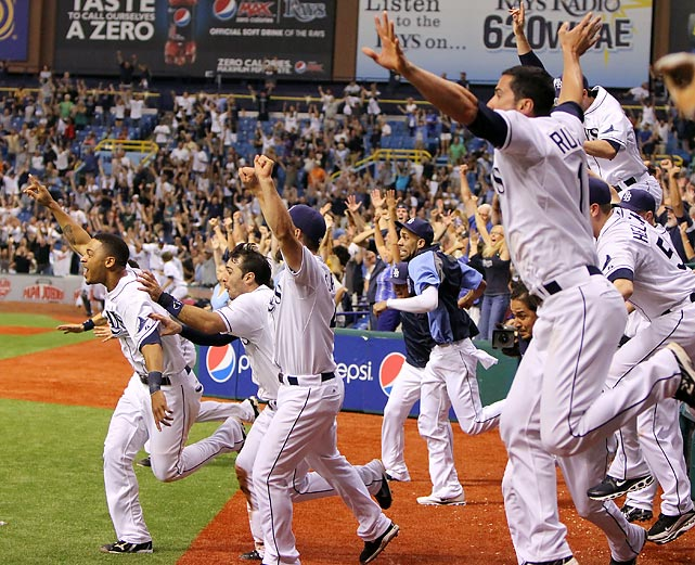 The Rays are in the playoffs! Tampa Bay's dugout celebrates overcoming a 7-0 deficit against the Yankees to clinch the AL Wild Card and complete Boston's epic September collapse.