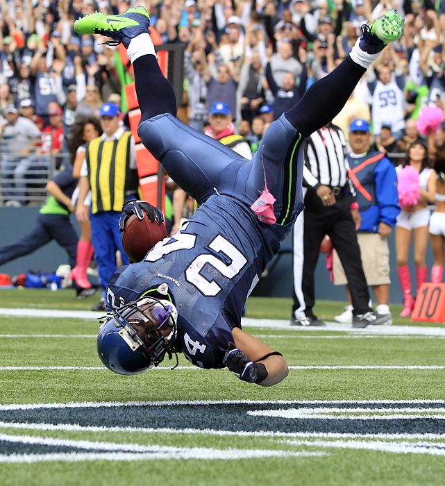 Seattle's Marshawn Lynch scored one touchdown against the Atlanta Falcons. Apparently no one told the Seahawks' back that you can go into the endzone feet first.