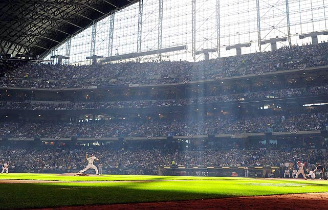 Milwaukee's Yovani Gallardo pitches to Ryan Roberts at Miller Park in Milwaukee. Gallardo would help the Brewers to a 4-1 win in the first game of the series.